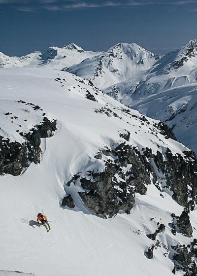 Skiing east off Decker Shoulder