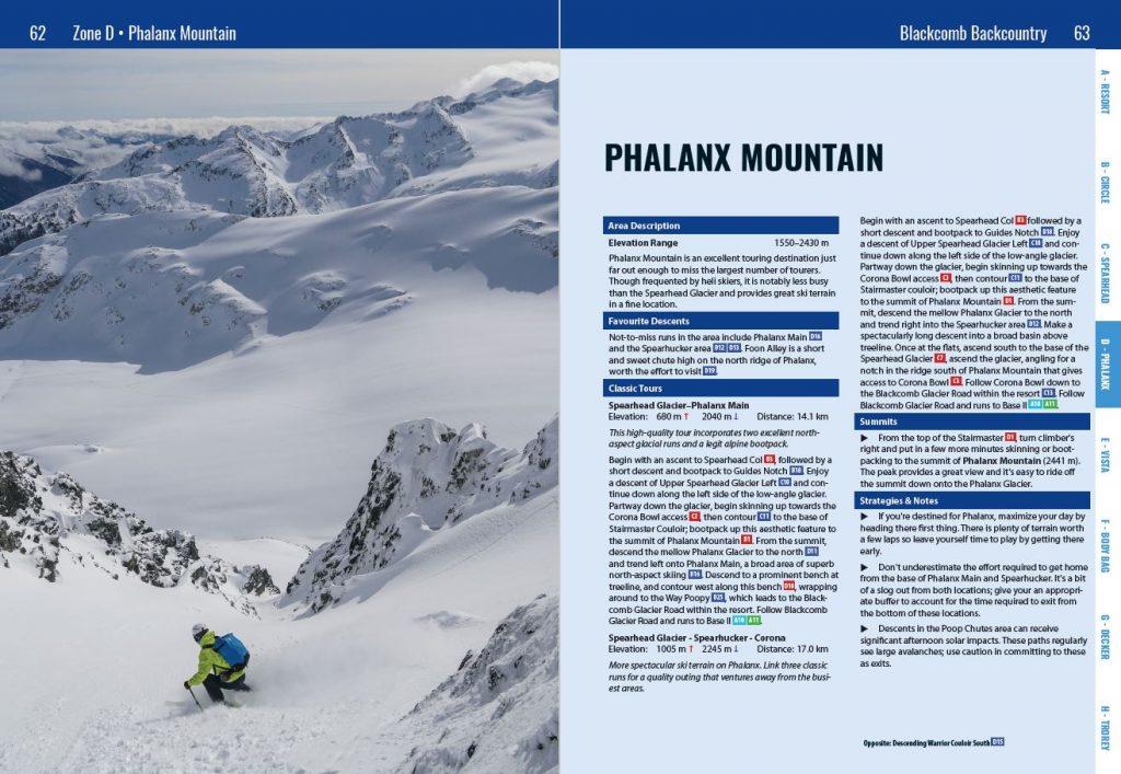 Phalanx Route Description  from Spearhead Backcountry Atlas
