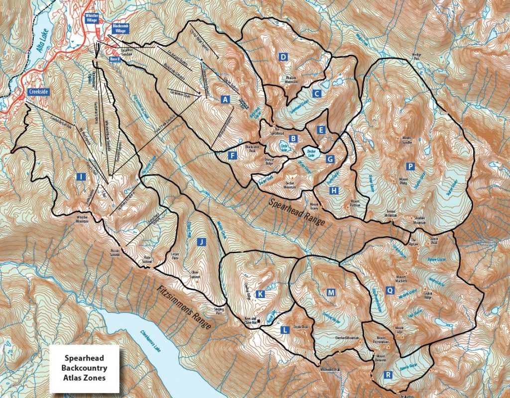 Spearhead Traverse Route Map from Spearhead Backcountry Atlas