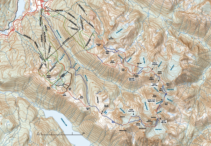 Spearhead Traverse Topographic Route Map
