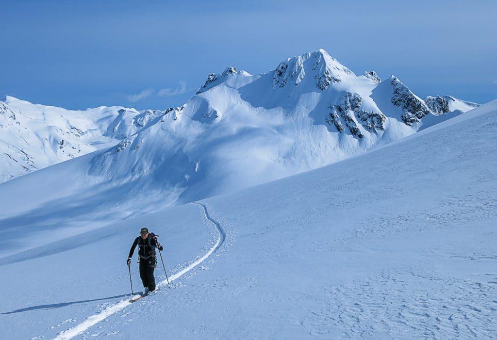 Ascending the Diavolo Glacier on the Spearhead Traverse
