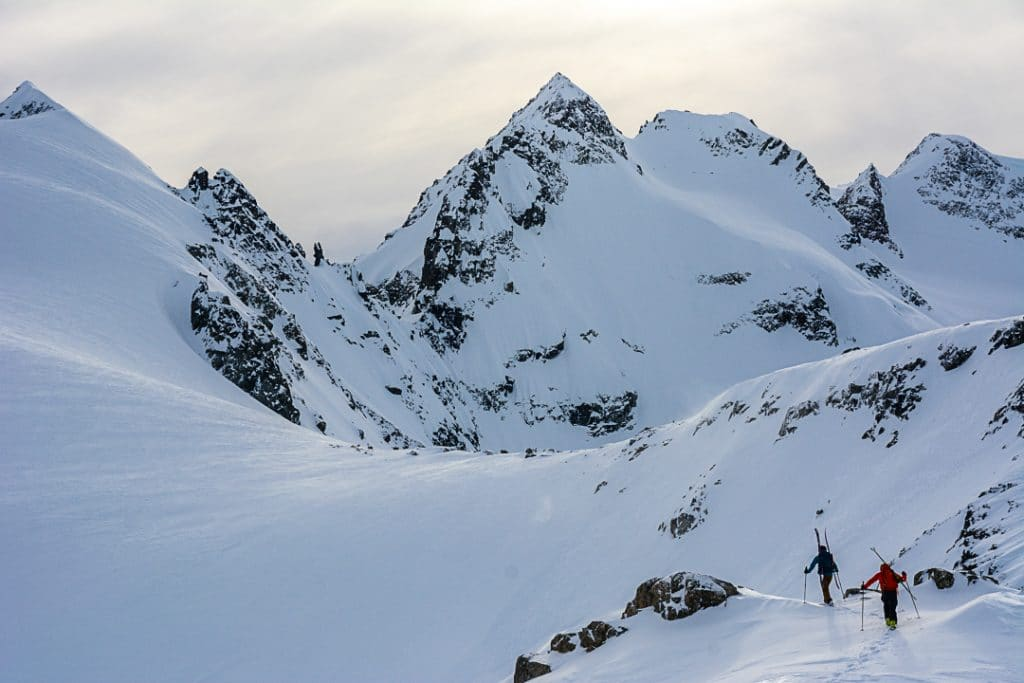 Mount Fitzsimmons from the Couloir Ridge to Iago Ridgeline  on the Spearhead Traverse