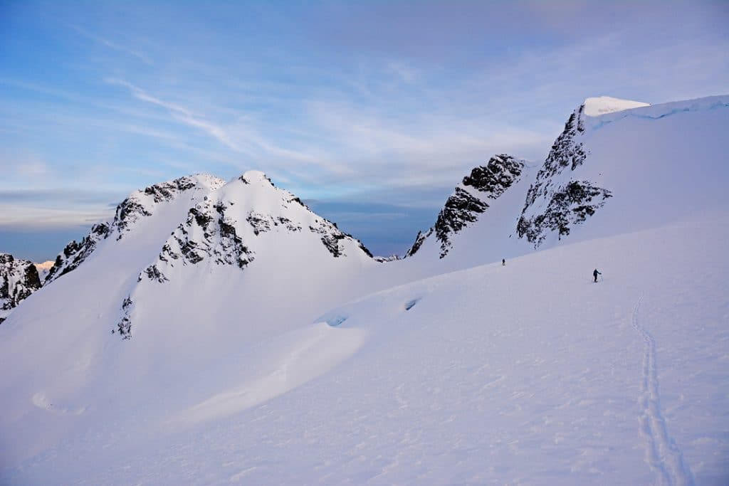 Crossing the Fitzsimmons Glacier to the Overlord Gendarme on the Spearhead Traverse