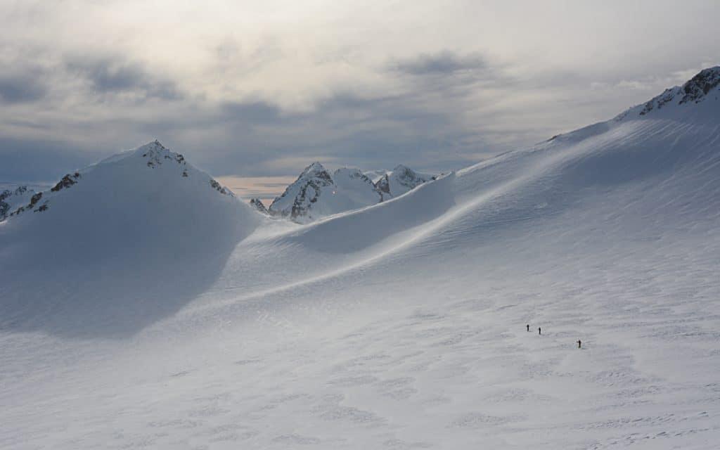 Crossing Naden Glacier  on the Spearhead Traverse