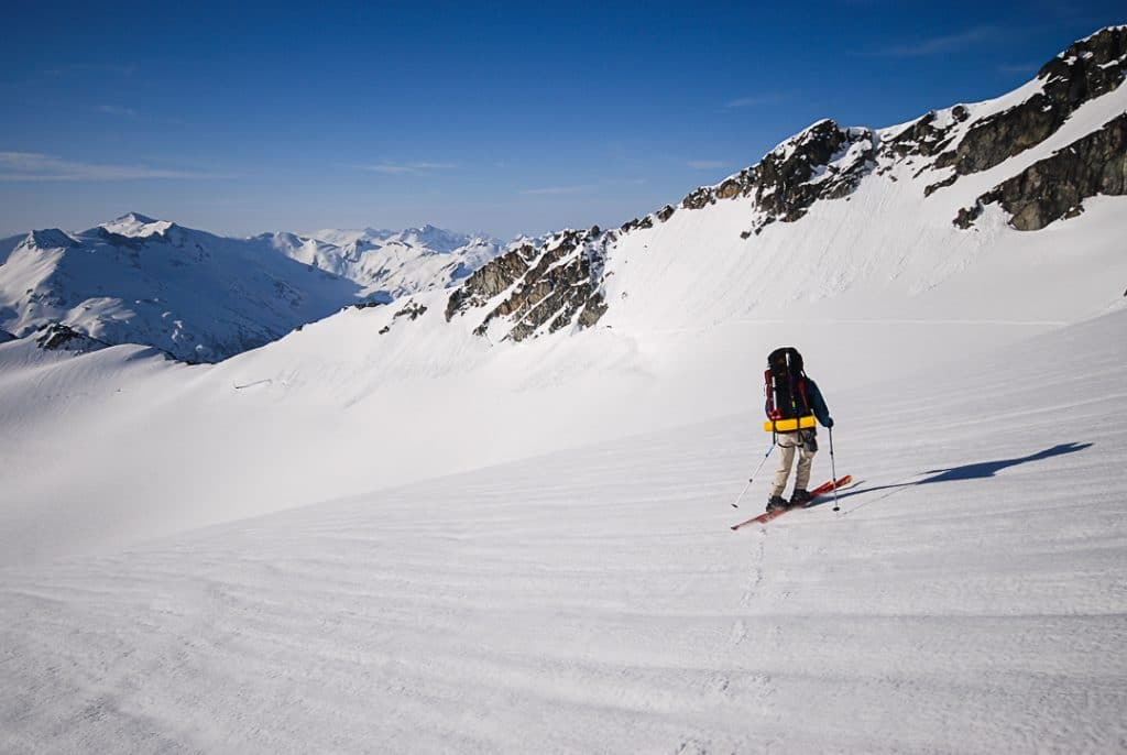 Crossing Ripsaw Glacier on the Spearhead Traverse