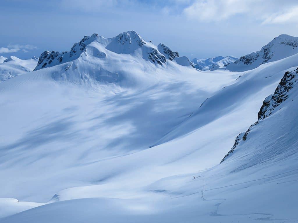 Descending Iago towards the Diavolo Glacier on the Spearhead Traverse