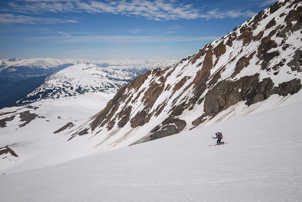Descending the Whirlwind West Pocket Glacier on the Spearhead Traverse