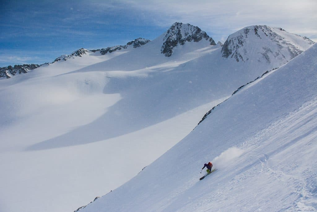 Descending from Trorey Side Col on the Spearhead Traverse