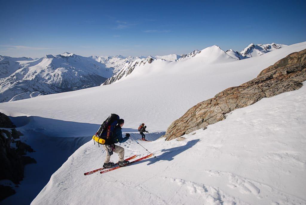 Descending onto Naden Glacier  on the Spearhead Traverse