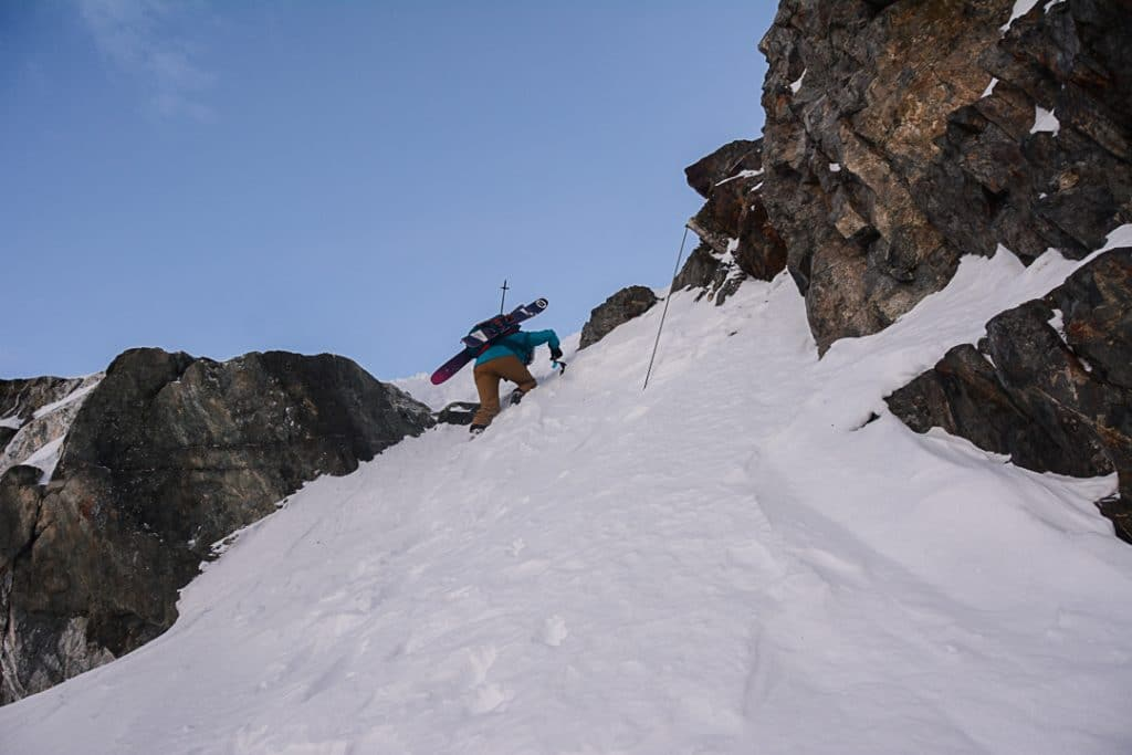 Descending the Overlord Rock Step on the Spearhead Traverse