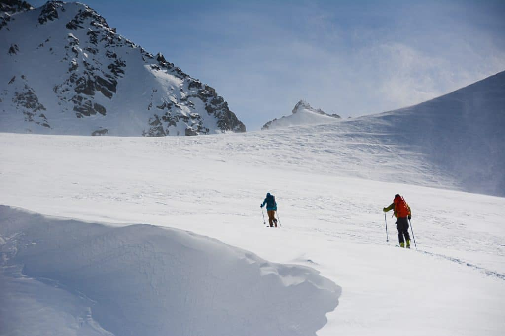 Passing the Wind Scoop on the Platform Glacier on the Spearhead Traverse