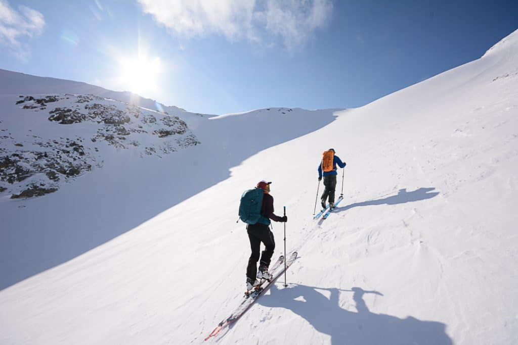 Climbing towards the East Col on the Spearhead Traverse