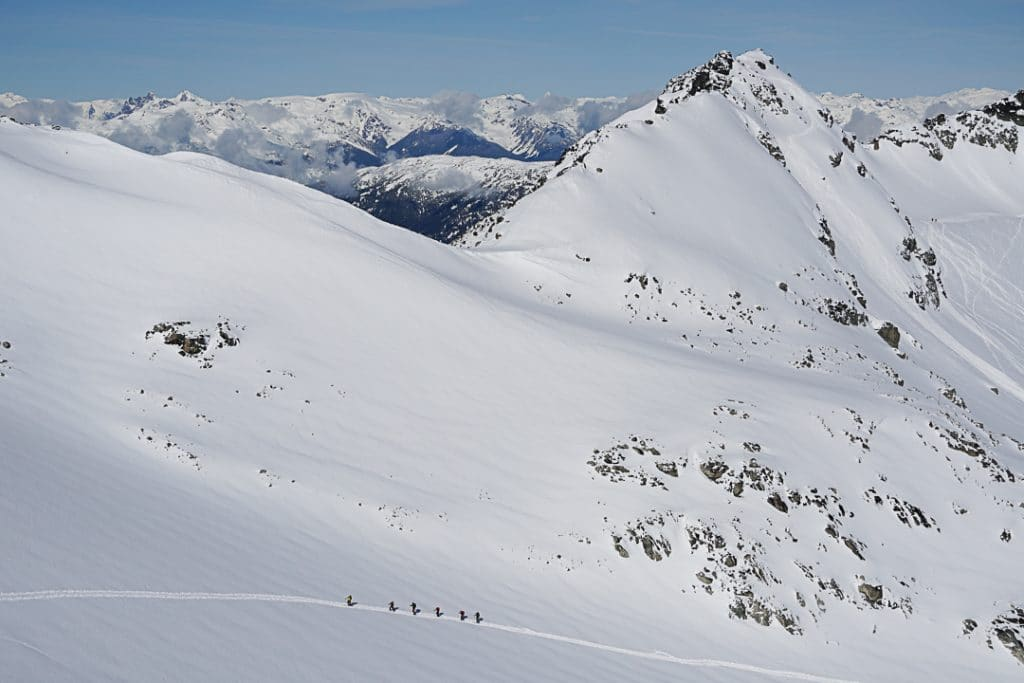Climbing towards East Col on the Spearhead Traverse