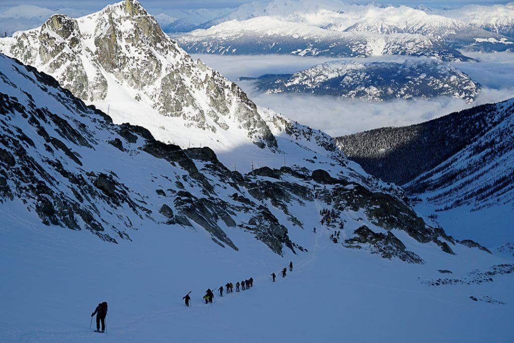 Leaving the Blackcomb Glacier Backcountry Gate on the Spearhead Traverse