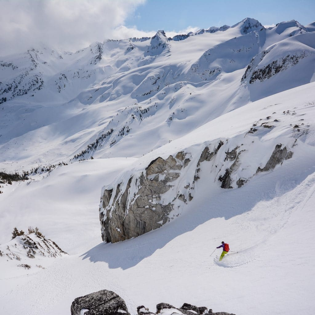 Skiing Vista Chute in the Blackcomb Backcountry in the Spearhead Range